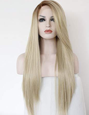 Black Ash Light Brown Blonde Synthetic Wig Body Wave Middle Part Heat Resistant Fiber For Black Women Cosplay Long Wig