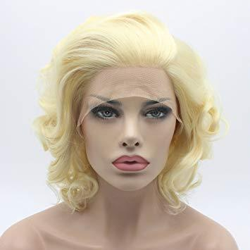 Blonde Wig Hair Short Wavy Wig Ombre Brown High Density Heat Resistant For Black/White Women