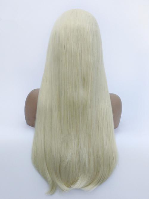 Light Blonde Wig for Ladies #60 Color Synthetic Lace Front Wig Natural Long Wavy Wigs for Women Glueless Free Part Heat OK Fiber