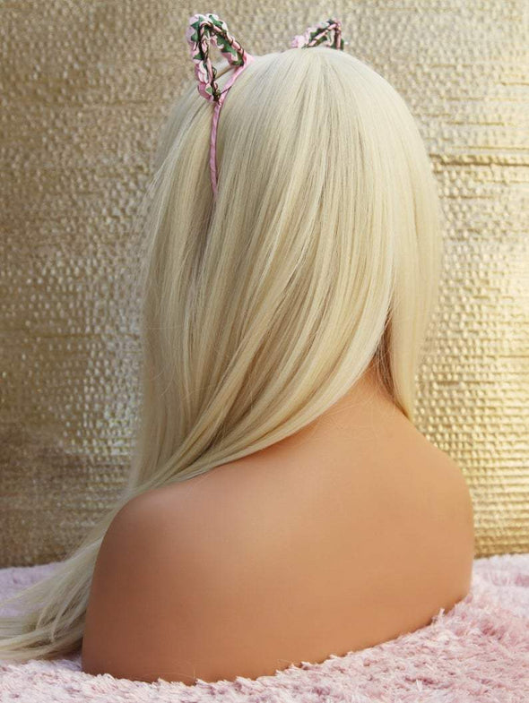 Blonde Wig with Front Bangs, Platinum Blonde Natural Wig, Heat Safe Wig, For Everyday and Cosplay