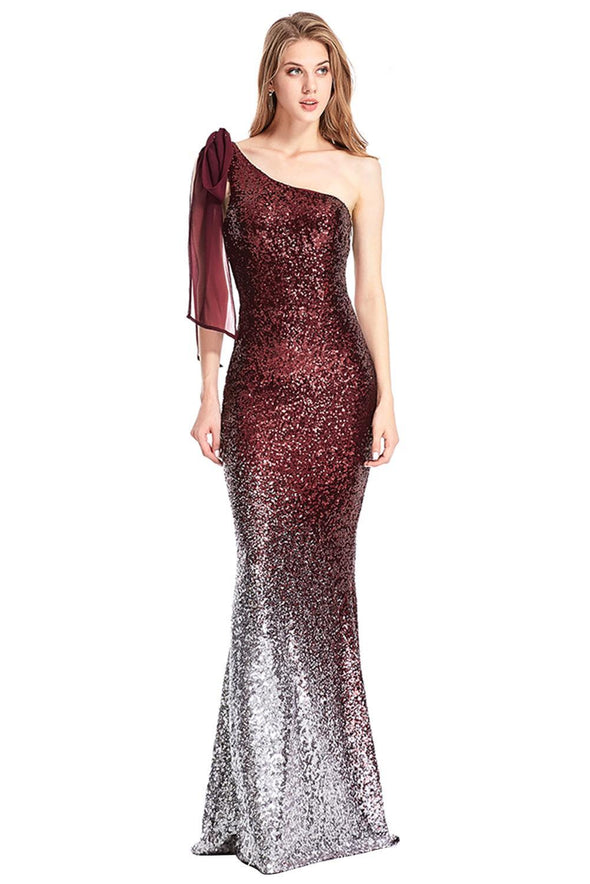 Red Gradient One Shoulder Sequin Party Evening Dress