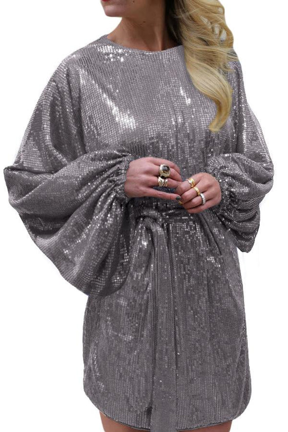 Gray Oversized Caftan Mini Dress In Sequin
