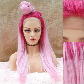Bright Pink Straight Wig, Hot Pink Wig, Long Pink Wig, Two Tone Wig, Wigs for woman, Head Turning Wigs, Cosplay Wig, Natural Wig
