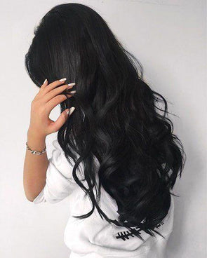 High quality lace front wig black long wave wig natural hairline83