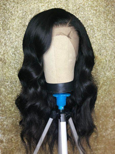High quality lace front wig black long wave wig natural hairline82