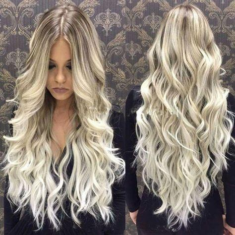 Lace Front Wig Platinum Blonde Wig Wave Long Hair Human Hair Wigs Free Shipping
