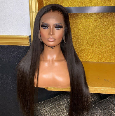 Black Lace Front Straight Wigs Yaki Straight Wig