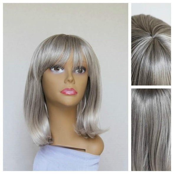 Silver Short Straight Bob Wig, Silver/White Bang, Front Bangs, HEAT SAFE