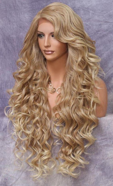 22inch raw peruvian human hair deep wave blond 613 full lace wig with transparent lace
