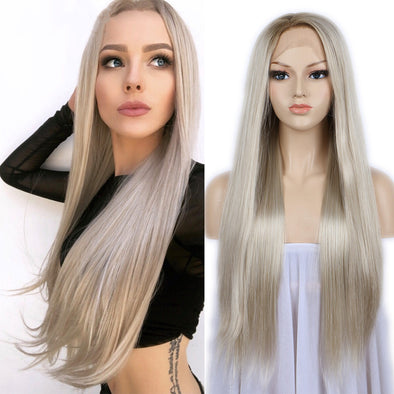 Gray Ash Light Brown Blonde Hair Wig Body Wave Middle Part Heat Resistant Fiber For Black Women Long Wig