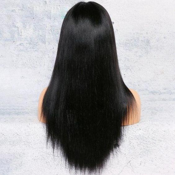 Lace Front Hair Wigs black wig no fringe