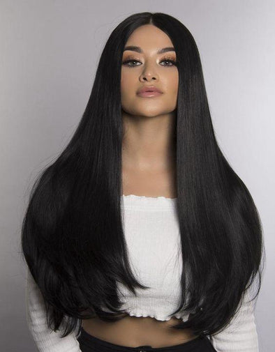 Lace Front Hair Wigs Long black wig with fringe