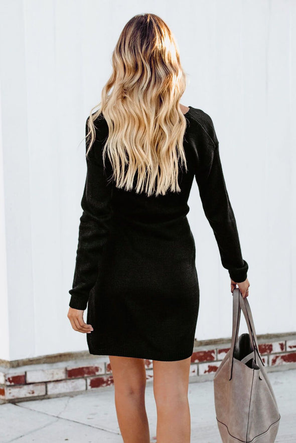 Black Dont Let Me Go Tie Sweater Dress