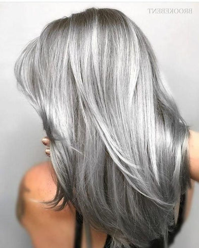 Gray Wigs Lace Frontal Wigs Dark Grey Clip In Hair ExtensionsTemporary Grey Hair