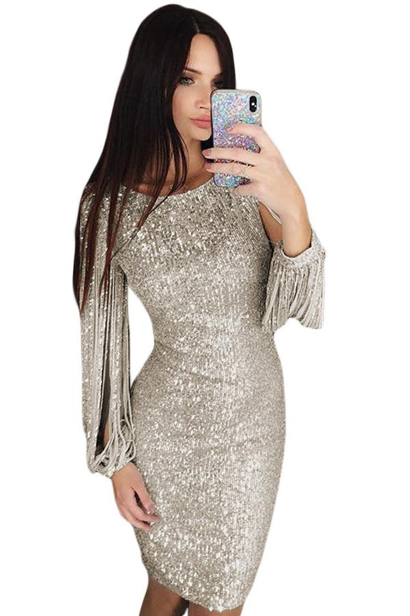 Silver Sequin Tassel Sleeve Bodycon Evening Dress