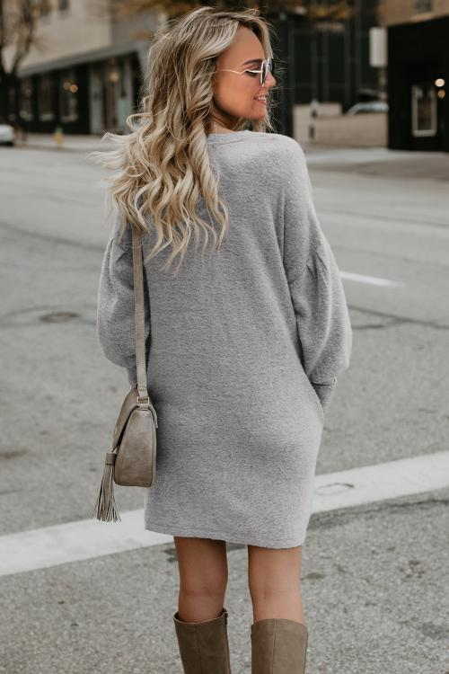 Gray Autumn Winter Long Lantern Sleeve Knitted Sweater Dress