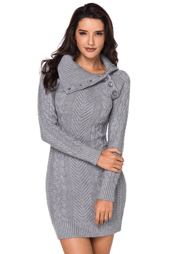 Asymmetric Buttoned Collar Grey Bodycon Sweater Dres