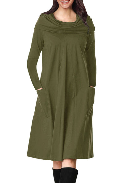 Olive Green Cowl Neck Long Sleeve Jersey Dress