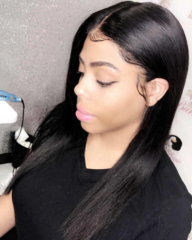 Black Lace Front Straight Wigs Yaki Long Wig