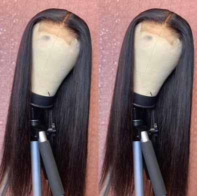 Black Lace Front Straight Wigs Yaki U Part Wig