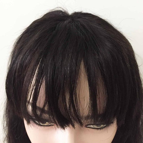 Women Natural Black Brazilian Real Human Hair Lace Front Fringe Air Bangs Long Wavy Wig 16inches