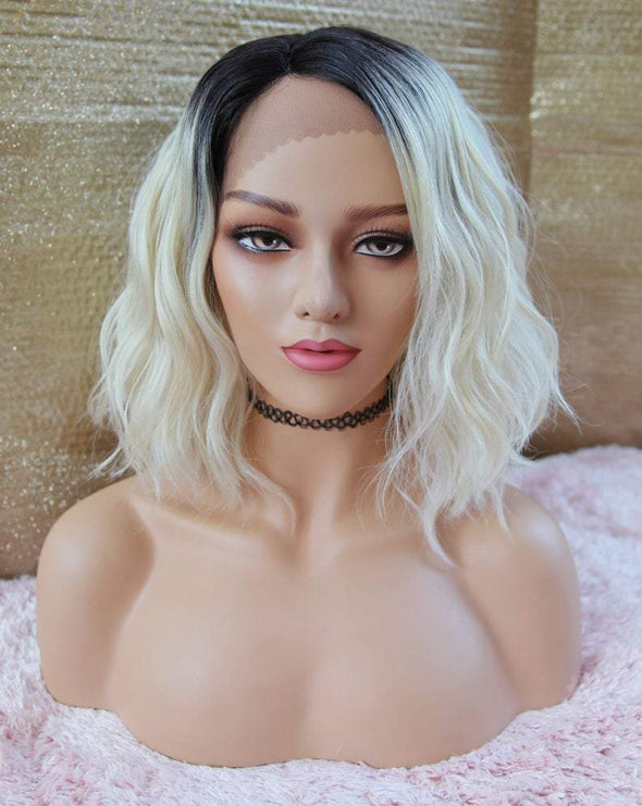 Blonde Lace Front wig, Beach Wave Burgundy silk lace front Wig, Heat Safe, Natural Parting, For Everyday Use or Cosplay