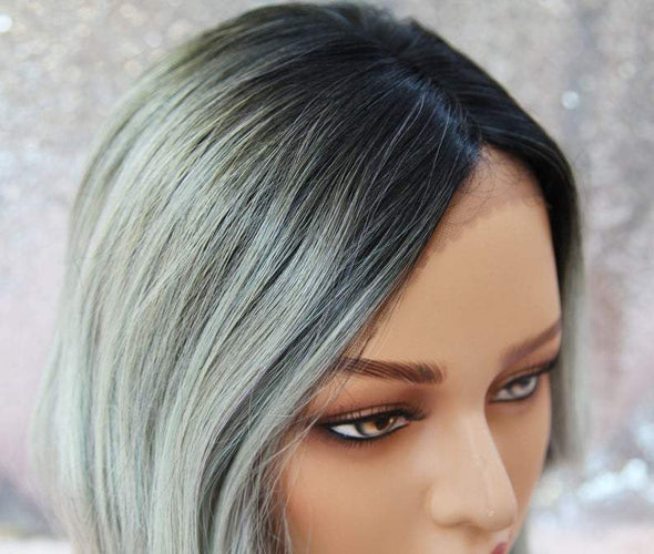 Pastel Green/Grey Wavy Lace Front Wig, Silk Lace, Heat Safe, Natural, Cotton Candy Green, Cosplay