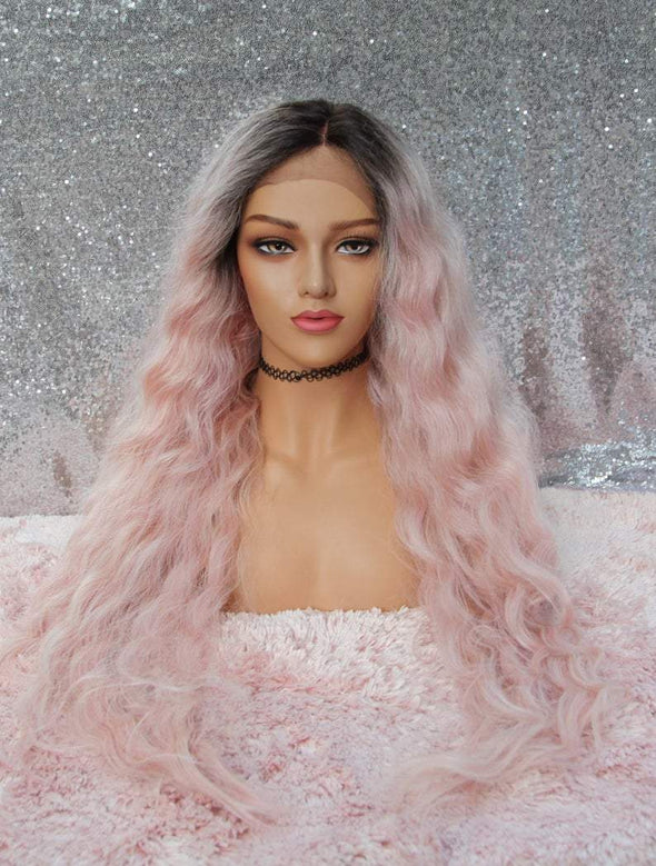 Pink Long Loose Wave Lace Front Wig, Dark Roots, Heat Resistant Wig, Natural and Cosplay Wig