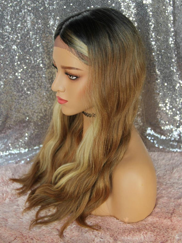 Honey Blonde Mix Lace Front Wig, Heat Resistant, Natural, Medium Length, Chemo Wig, cosplay