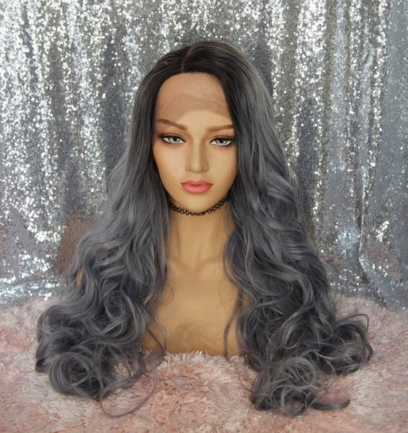 Grey Lace Front Wig, Wavy Swiss Lace Front, Heat Resistant, Natural Wig, Cosplay, Chemo Wig