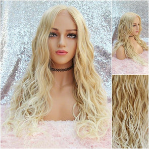 Blonde Lace Front Wig - Baby Hairs - Beach Waves - Heat Safe - Natural Wig - Cosplay Wig