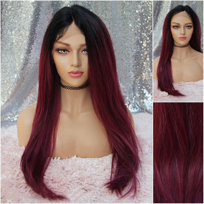 Burgundy Long Lace Front Wig - Baby Hairs - Beach Waves - Heat Safe - Natural Wig - Cosplay Wig