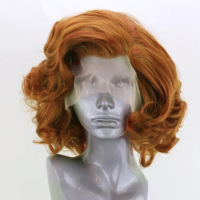 Brown Wig Curly Hair Lace Front Wig Lace Wig Cosplay Wig Short Curly Wig Party Wig Lady Wig Heat Resistant Wig