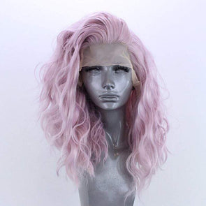 Pink Wig Curly Hair Lace Front Wig Lace Wig Cosplay Wig Long Curly Wig Party Wig Lady Wig Heat Resistant Wig