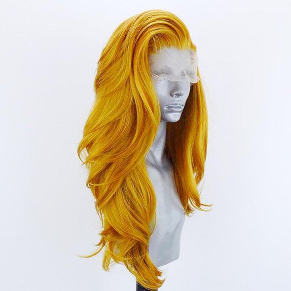 Golden Wig Curly Hair Lace Front Wig Lace Wig Cosplay Wig Long Curly Wig Party Wig Lady Wig Heat Resistant Wig