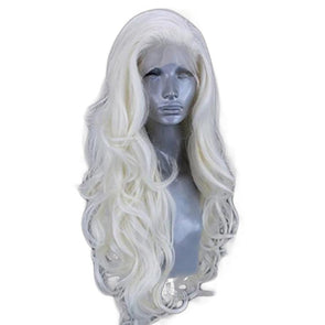 White Wig Curly Hair Lace Front Wig Lace Wig Cosplay Wig Long Curly Wig Party Wig Lady Wig