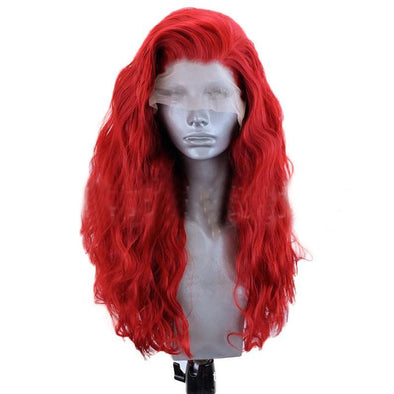 Bright Red Wigs Little Curly Hair Lace Front Wig Lace Wig Cosplay Wig Long Curly Wig Party Wig Lady Wig Heat Resistant Wig