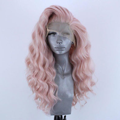 Light Pink Wig Curly Hair Lace Front Wig Lace Wig Cosplay Wig Long Curly Wig Party Wig Lady Wig Heat Resistant Wig