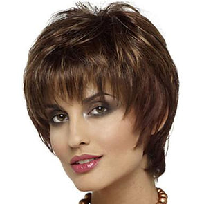QT Short Bob Body Wig For Black Women Lace Front Human Hair Brown Straight Wig
