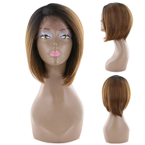 Ombre Brown Straight Wigs Synthetic Lace Front Wigs For Black Women Dark Root Short Bob Wigs With Baby Hair Side Part