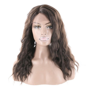 Lace Front Wigs Heat Resistant Fiber Glueless Wigs Long Wavy For Black Women Dark Brown Color Side Part