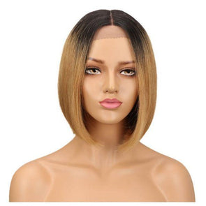 Curly Lace Front Wigs Bob Short Hair Brown Straight Human Hair Wigs