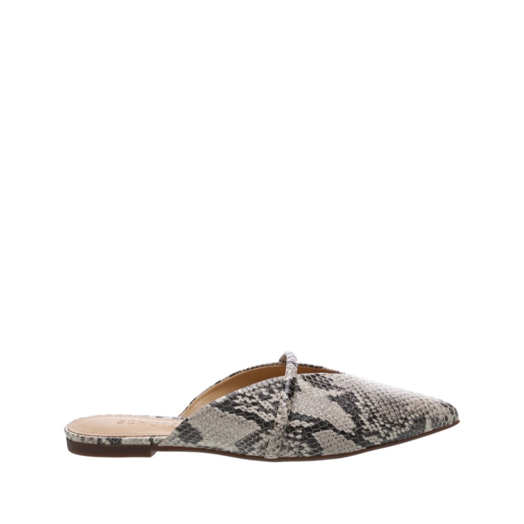 Anuva Flats Mules Natural Snake Snake Embossed Leather