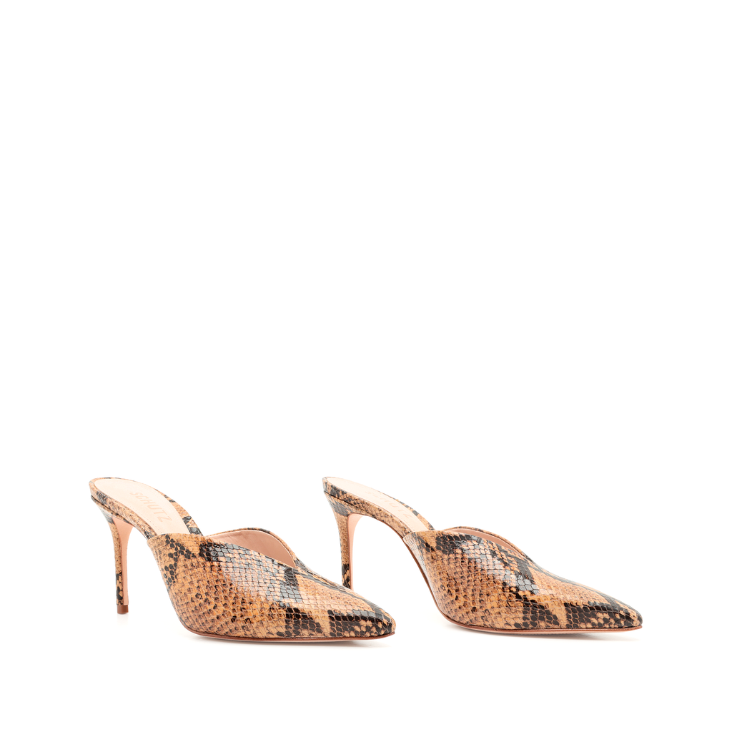 Charla Mule in Honey Beige Snake