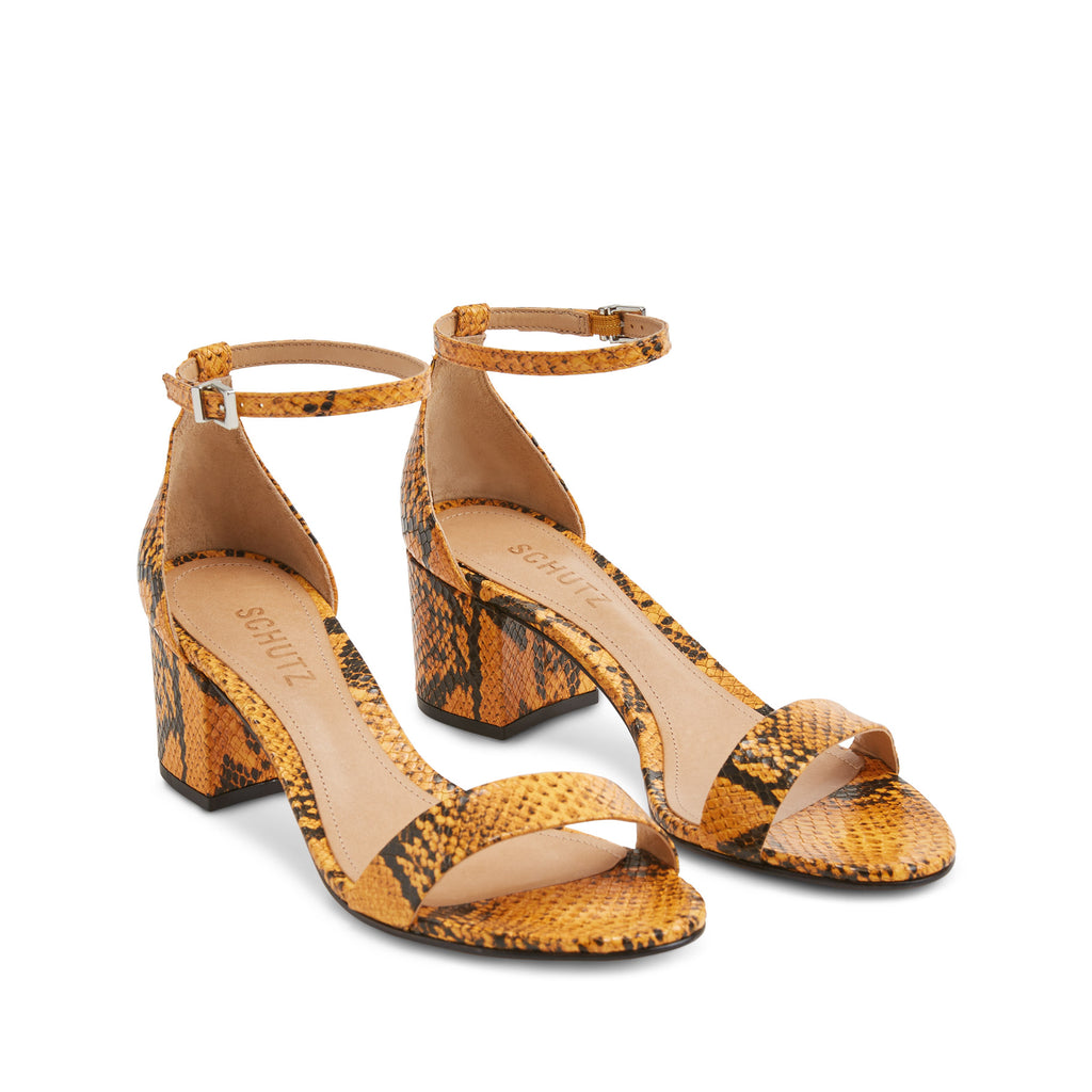 Chimes Sandal in Mary Gold Snake Multi
