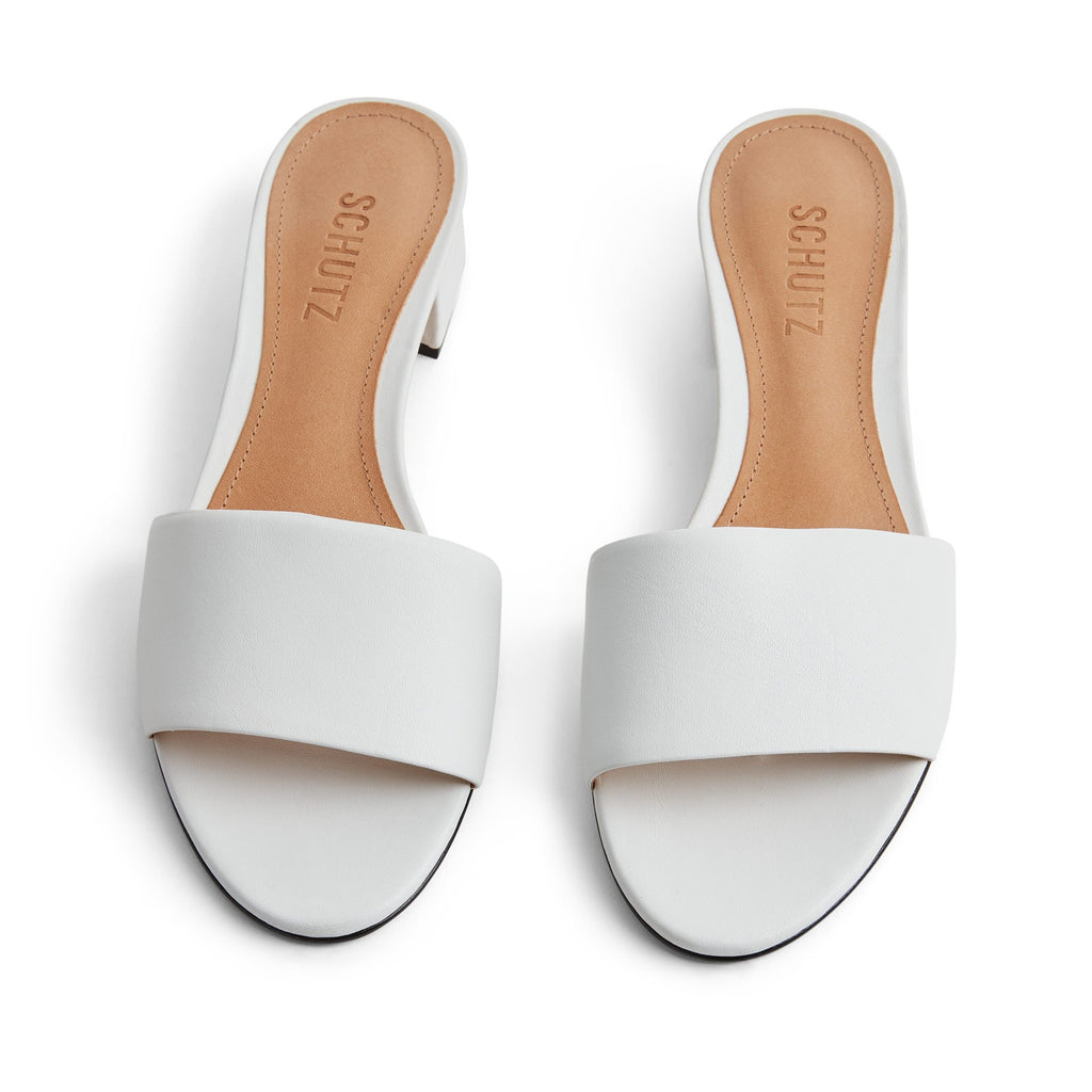 Elke Slide Sandal in White