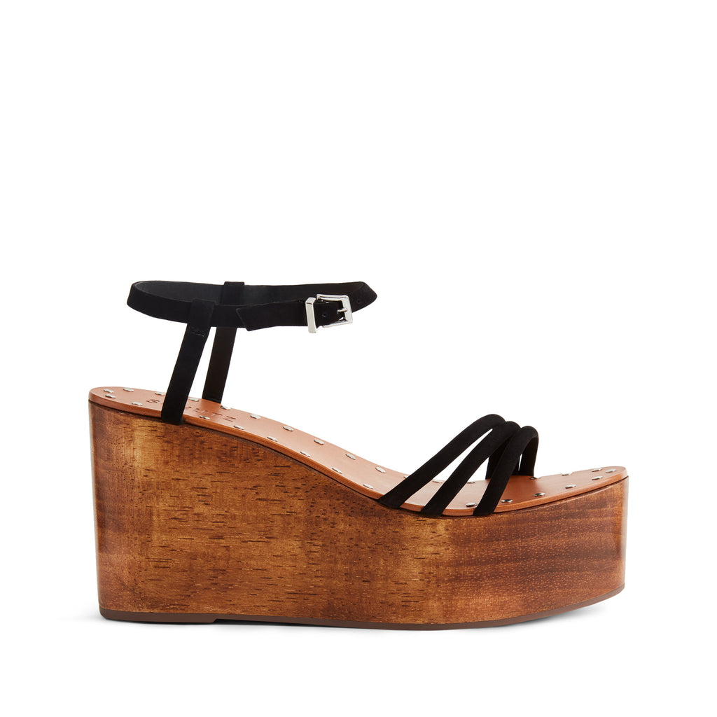 Elvira Wedge Sandal in Black