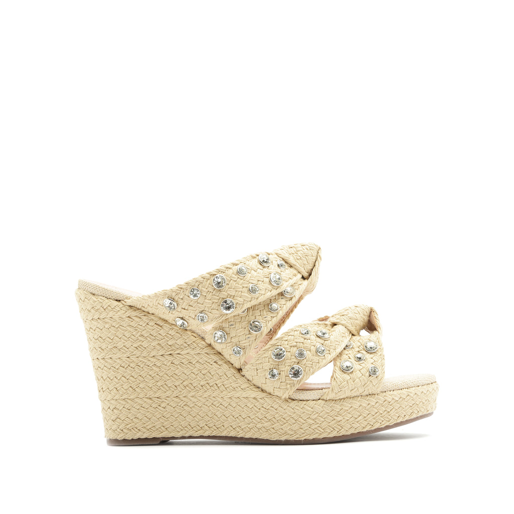 Enire Wedge Sandal in Natural Fabric