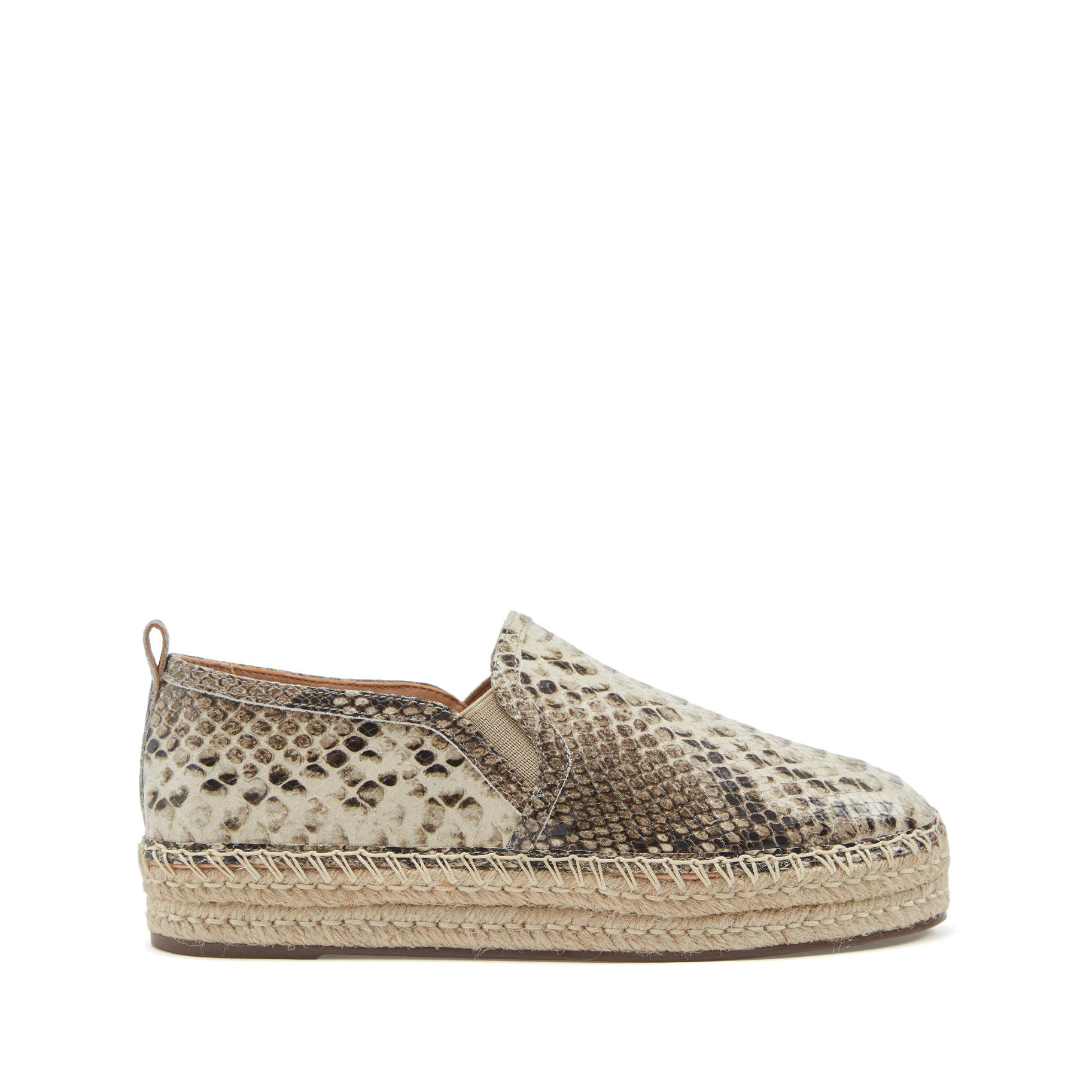 Fadia Flats Espadrille Pearl Snake Snake Embossed Leather