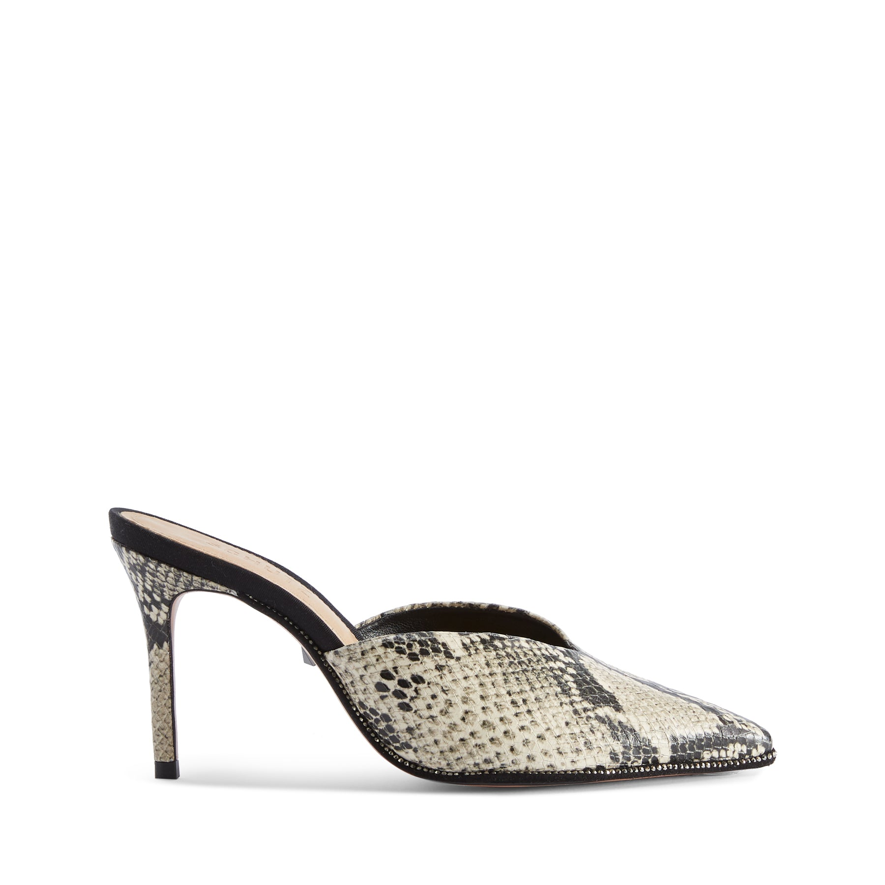 Heliconia Mules Natural Snake Snake Embossed Leather